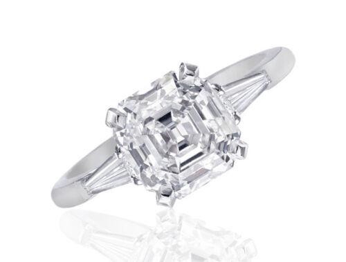 GIA Certified 2.20 Carat Asscher and Baguette Cut Diamond Engagement Ring Pla...