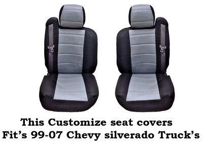 New Black/Gray Mesh Custom seat covers Fit's 1999~2006 Chevy Silverado Truck's Custom Chevy Truck Seats