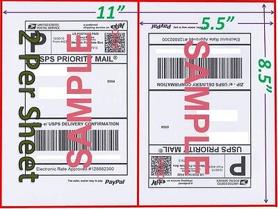 200 Self Adhesive Shipping Blank Labels 8.5x5.5 Paypal