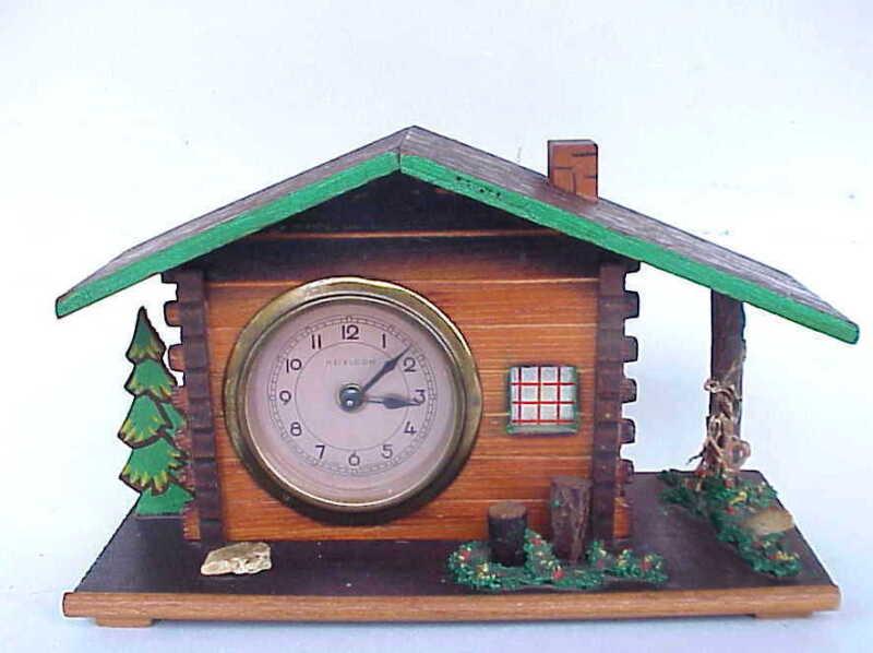 Antique German Heirloom Black Forest Wooden / Wood Chalet Wind Up  Clock