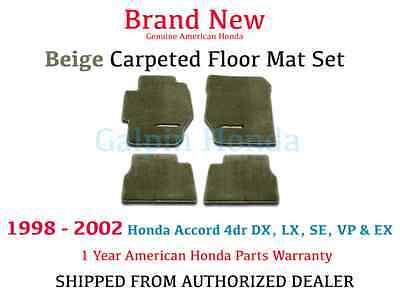 OEM Honda Accord 4dr Sedan Beige Tan Carpet Floor Mat Set 98-02   (Beige Accord Floor Mat)