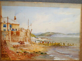 A VINTAGE WATERCOLOUR OF THE OLD BATH HOUSE ABERDOVEY circa 1929 BY I* A* MOYLE BWS