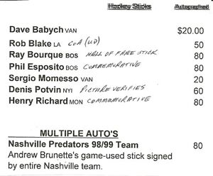 Hockey Sticks Autographed -NHL Players New prices