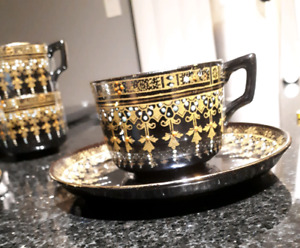 1897 vintage tea cups and saucers set of 5