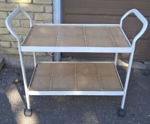 Vintage White Rolling 2 Tier Metal Serving Cart with Casters
