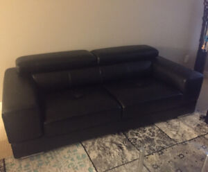 Two Brand New Black Leather Couches For Sale