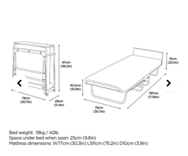 Jay-be single supreme fold out bed with mattress