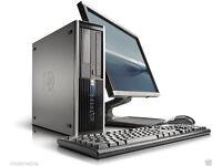 HP ELITE PRO AMD DUAL CORE PC FULL SET UP WINDOWS 7 4GB RAM 250GB HDD