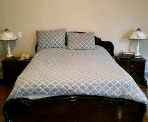 Queen bed, sofa, table, bench, 2 side table, dresser & mirror