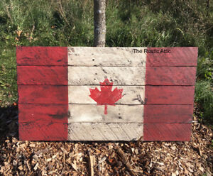 Handcrafted Wood 2D 3D Rustic Flag Leafs Bruins Canadian Union J