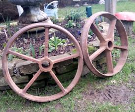 Pair of large vintage industrial cast iron wheels 55cm diameter