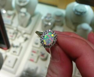 Oval Opal and White Sapphire Ring for sale