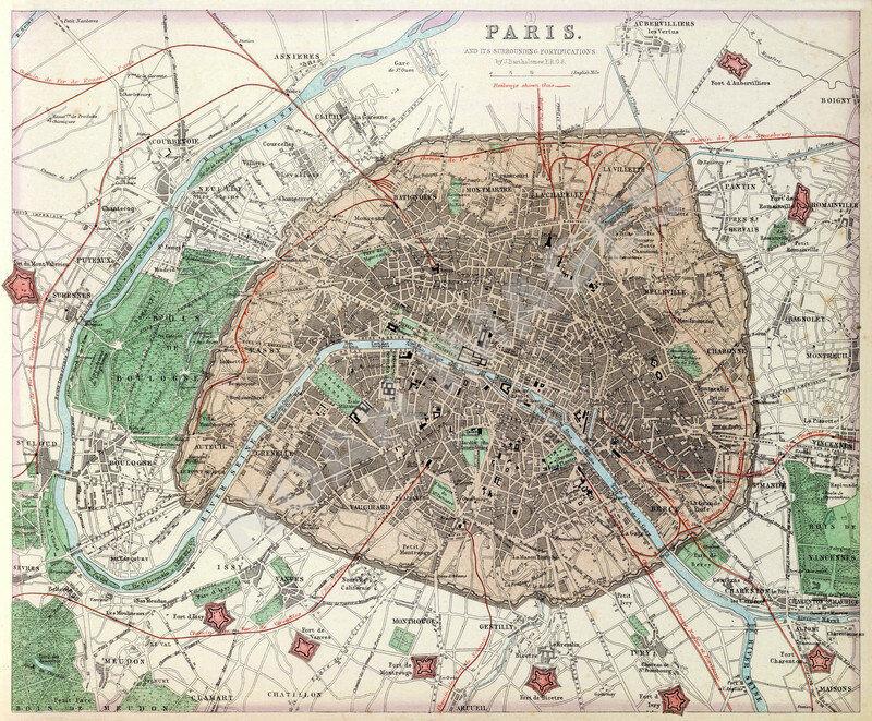 Map of Paris France c1872 24x20