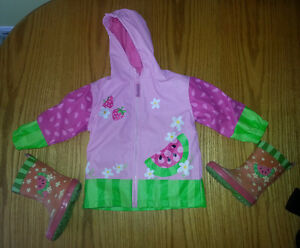 2T Watermellon Rain Jacket and Boots Size 7