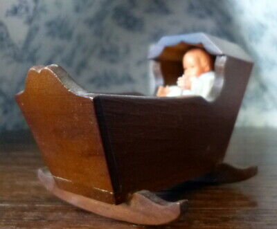 Vintage Baby CRADLE & Baby Doll 1:12 Dollhouse Miniature for sale  Shipping to India