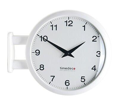 Modern Art Design Double Sided Wall Clock Station Clock Home Decor - MA5White
