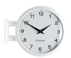 Modern Art Design Double Sided Wall Clock Station Clock Home Decor - MA5White