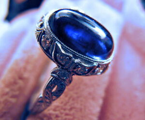 Platinum Sapphire Ring with Diamonds - Vintage Antique