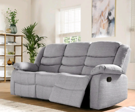 3&2 Seater Light Grey Sorrento Fabric Recliners Sofas