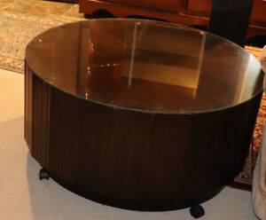 Brand New Wood Round Coffee Table with Glass $150