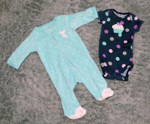 Turquoise mouse newborn sleeper & navy blue polkadot cupcake one