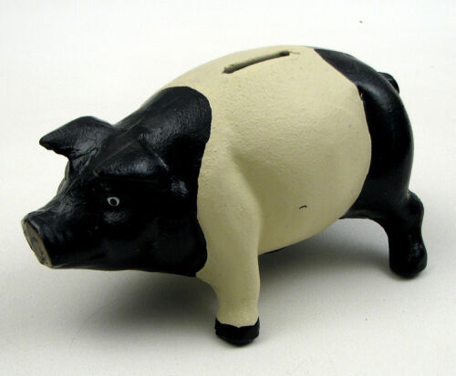 LARGE Reproduction Heavy Cast Iron Piggy Bank Painted BLACK AND WHITE  Pig