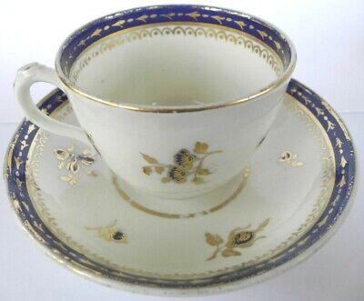 KEELING or NEW HALL C18th Hybrid paste deep Tea Saucer Polychrome enamels