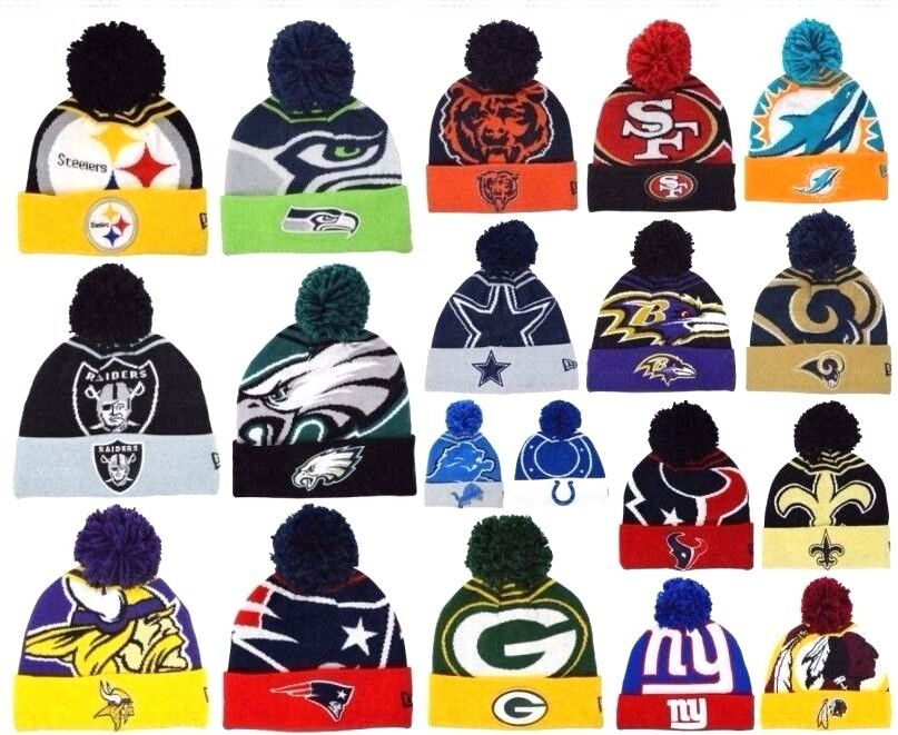 New Era NFL Logo Whiz Skully Winter Beanie Cuffed Pom Authentic Original Hat Cap