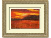 Original Hand Made Oil Pastel Art Painting Scottish Sunset