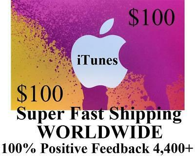$100 APPLE US iTUNES APP Warehouse CARD gift certificate FAST worldwide shipping