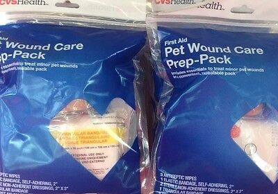 2 First Aid Pet Dog Wound Injury Care Prep Pack Wipes Bandages Elastic Dressings
