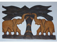 HAND MADE 2 ELEPHANTS UNDER TREE WOODEN ORNAMENT 17 x 12 PALM COLLECTABLE PIECE.