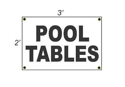 2x3 POOL TABLES Black & White Banner Sign NEW Discount Size & Price FREE SHIP