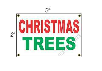 2x3 CHRISTMAS TREES Red White & Green Banner Sign NEW Discount Size & Price ()