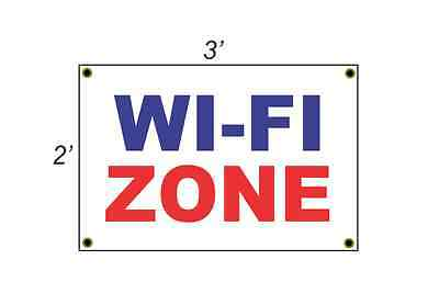 2x3 Wi-fi Zone Red White Blue Banner Sign New Discount Size Price
