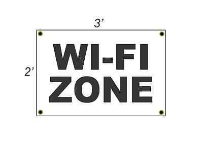 2x3 Wi-fi Zone Black White Banner Sign New Discount Size Price Free Ship