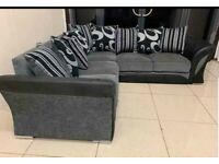BRAND SHANNON BLACK & GREY CORNER OR 3+2 SEATER SOFA NOW AVAILABELK