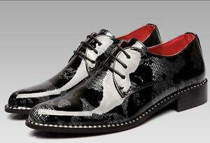 SHINY-PATENT-LEATHER-MENS-DRESS-FORMAL-LACE-UP-SNAKE-PRINT-OXFORDS ...