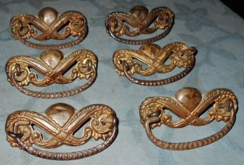 Set of  6  Antique  Stamped Metal  Drawer Pulls