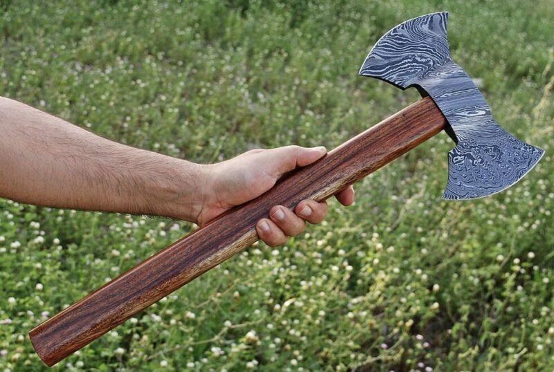 HAND FORGED DAMASCUS STEEL TOMAHAWK, HATCHET, AXE ,INTEGRAL, Double Head Axe
