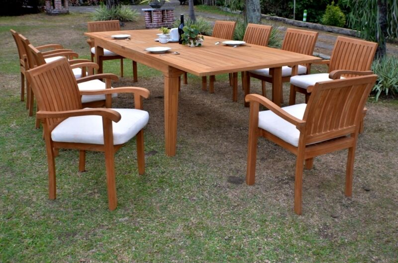 """11 Pc Outdoor Teak Dining Set - 122"""" Rectangle Extn Table,10 Stacking Arm Chairs"""