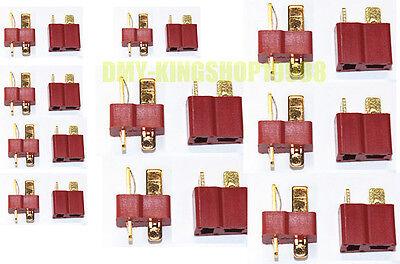 20Pcs /10Pairs T Plug Male & Female Connectors Dean Style For Model LiPo Battery