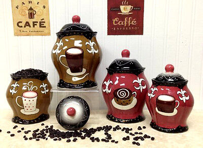 Unique Ceramic Canisters Set Storage Jar Hand Painted 4 Set Coffee Cafe Kitchen