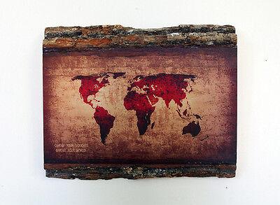 WOODEN WORLD MAP - Wood Wall Art - Decorative Wood Sign - Rustic World Map