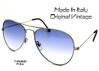 Sonnenbrillen Männer Frau Stil Fallen Pilot Silber Blau Made in Italy