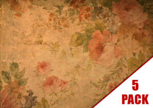 Shabby Chic VINTAGE Floral Patterned A4 Card Stock 5PK Scrapbook Card #299/5