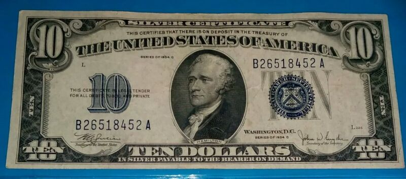 1934 C $10 Silver Certificate, Blue Seal, ! NICE ! F/VF. COND. !!