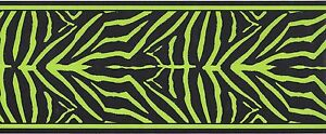 Black Lime Green Zebra Skin Peel Stick Wallpaper Border QA4W1651 ...