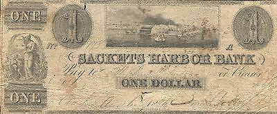 1836  1 One Dollar Sackets Harbor Bank Clayton  Ny Obsolete Banknote Rare