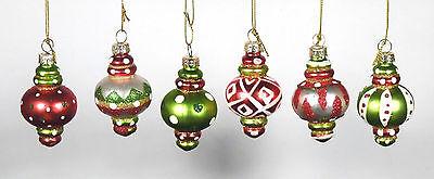 6 Christbaumschmuck Kugeln Zapfen Ornament Baumschmuck Glas klein bunt orient
